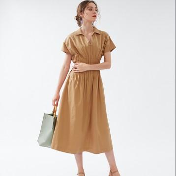 SNIDELSWFO194029V领气质抽褶收腰短袖连衣裙亚马逊海外购2.9折直邮中国¥451.83