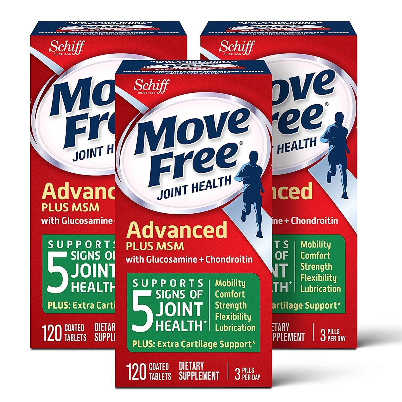 3件9.5折!【中亚Prime会员】MoveFree益节氨基葡萄糖和软骨素片120粒*3盒到手价366元